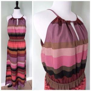 ANN TAYLOR LOFT Pink Purple Striped Summer Dress